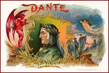 dante cigar box label (22 color version-circa 1900)