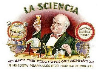 science theme cigar box label