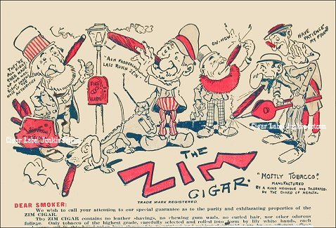 Zim Cigars- cigar box label